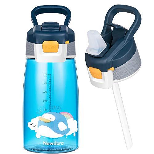 Newdora Botella de Agua para Niños, 480ml Botella a prueba de Fugas, Botella Agua con Pajitas, Dibujos de Pájaros Voladores, Azul