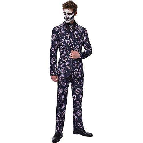 Opposuites Suitmeister Bloody Skulls Suit for Men, Halloween Costume, Small, Includes Matching Jacket, Pants, and Tie