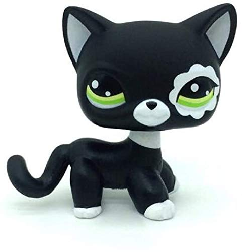 N/N Littlest Pet Shop, LPS Toy Rare Black Short Hair Cat Kitty Animal Figure Tpy LPS