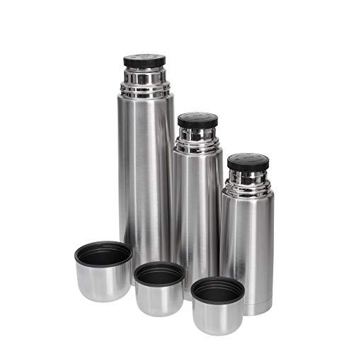 GRÄWE Isolierflaschen-Set 3-teilig Edelstahl 0,35 Liter,0,5 Liter und 1 Liter - Silber