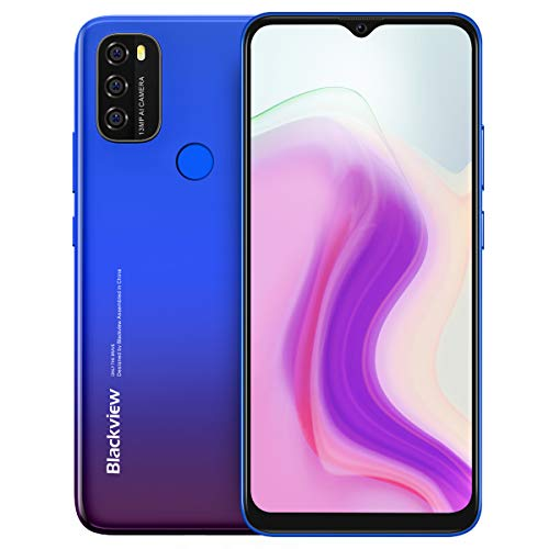 Android 11 Teléfono Blackview A70, Pantalla HD+ 6.5'', 8.3mm Delgado&Liviano, Batería Masiva 5380mAh, Smartphone Octa Core 3GB 32GB,13MP+5MP,Dual SIM Móvil 4G,Desbloqueo Facial&Huella Digital Azul