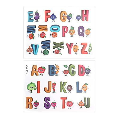 AUNMAS Alfabeto Decalcomanie da Muro, Serie di Frutta e Verdura Lettere Inglesi Modello Wall Sticker, Carta da Parati per Bambini Scuola Materna Camera da Letto Soggiorno Decor