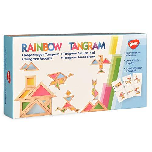 BOHS Rainbow Tangram con tarjetas de actividad, rompecabezas de tamaño grueso, mesa de luz para niños pequeños   Juguetes para ventanas de jardín /7 piezas