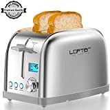 2 Slice Toaster, LOFTer Prime Rated Bagel Toasters with LCD Display, Full Stainless Steel Body Toaster with 7 Bread Settings, Bagel/Defrost/Reheat/Cancel Function, 1.6' Wide Slots, Removable Crumb Tray, 900W, Silver