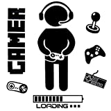 OOTSR Pegatinas de Pared para Niños, Boy Gamer Loading Controller Pegatinas de Pared, Murales...