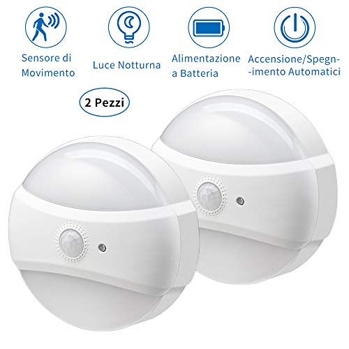 [2 Pezzi] Lampada da Notte a LED con Sensore PIR, YIROKA Lampada da Notte Con Sensore di Movimento con 2 Luminosità Regolabile, Luce Batteria per Scale, Corridoio, Camera da Letto, Bagno