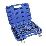 Qiilu Kit de removedor de polea, 24 unids/Set CRV, alternador de Acero, Kit de removedor de polea, Herramienta de extracción, desmontaje, reparación de automóviles