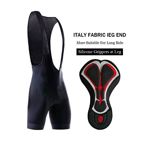 X-TIGER Hombres Ropa Interior de Bicicleta con 5D Gel Acolchado MTB Ciclismo Pantalones Cortos-Negro (Negro Culotte Pantalones Cortos, XXL)