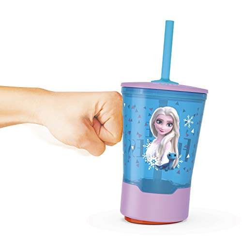 Zak Designs 16oz Disney Frozen 2 Mighty Mug Tumbler with Lid and Silicone Straw, Tip-Proof Spill-Proof Base, Easy to Lift, Durable Plastic Cup for Home and Travel (16 oz, Frozen Elsa)