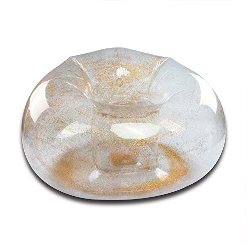 DWHJ Aufblasbares Sofa, tragbares Mini-faules Lehnstuhl Transparent Pailletten Inflatable Adult Sofa, geeignet für den Garten Gras Boden Familie und Swimmingpool,Gold