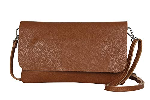 AmbraModa GLX11 - Borsa a tracolla da donna, in vera pelle, con tracolla rimovibile e regolabile, adatta per cellulari e tablet fino a 7 pollici, (cuoio)