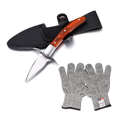 Aedgoye Oyster Shucking Knife Wood-handle Shuck Oysters and Clams Safely with a Clam or Oyster Knives