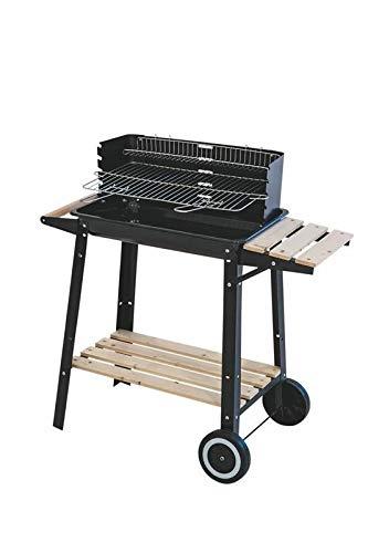 MAURY'S Barbecue Rettangolare Piano Legno con Ruote 86.5 X 27 X 81.5 Cm