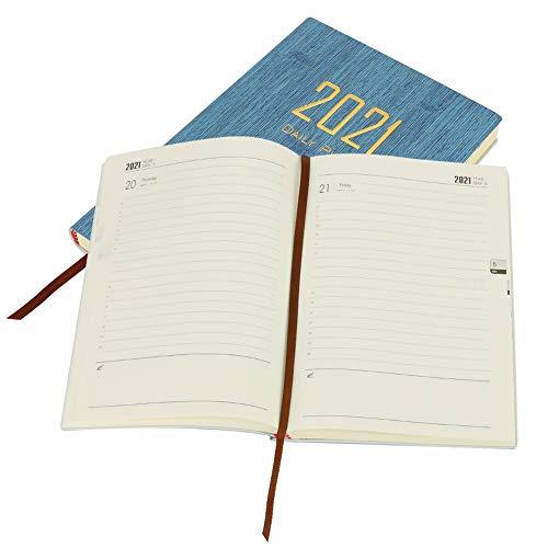 Achort 2021 Agenda Agenda 2021 Gennaio 2021, Giorno & Settimanale & Mensile Planner 14,5 x 21 cm, Agenda giornaliera con copertina rigida, carta spessa premium, blu