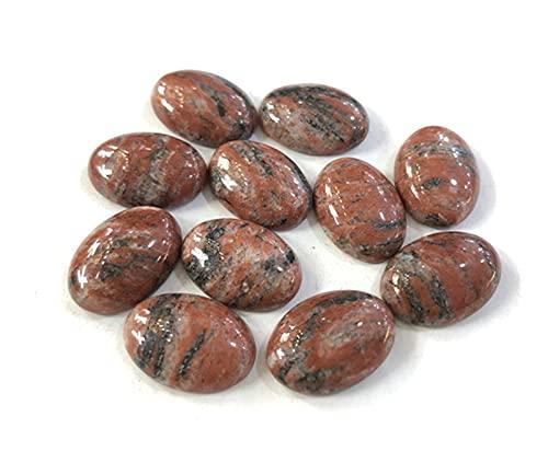 JACKYANG Piedra cabujón 20pcs/Lot Natural Gem Stone Cabochon Turquoise Jasper Beads 13x18mm Fondo Plano Piedra de Gema Oval Taxi for la fabricación de Joyas/ (Color : Sesame Jasper)