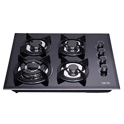Deli-kit 24 inch gas cooktop dual fuel sealed 4 burners tempered glass gas cooktop drop-in gas hob dk145-a01s gas cooker