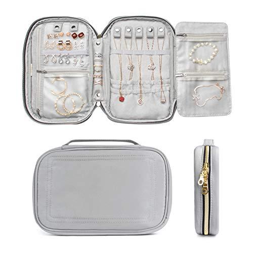 ILOVA Organizador de joyas, bolsa de viaje para pendientes, collares, pulseras, relojes (gris)