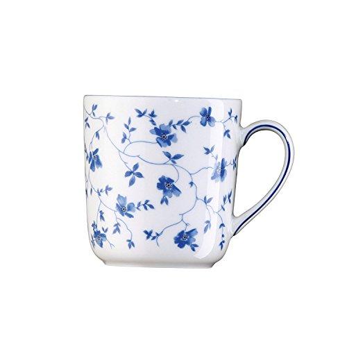 Arzberg Form 1382 Blaublüten Becher mit Henkel, Porzellan, White/Blue, 25.9 x 18.1 x 10.3 cm