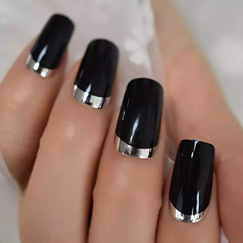 EDA LUXURY BEAUTY BLACK SILVER CHROME FRENCH LUXE DESIGN Full Cover Press On Nails Acrylic Nail Kit Artificial Nail Tips False Nails Extra Long Ballerina Coffin Square Nail Art Fashion Fake Nails