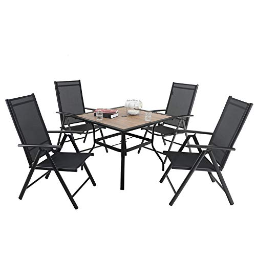 PHIVILLA 4+1 Gartenstühle und Tisch Klapp Gartenstühle mit Aluminiumrahmen, 6X verstellbar mit 7 sitzpositionen,Gartentisch aus Stahl Stahl Gartentisch mit Sonnenschirmloch Gartenmöbel-Sets