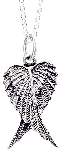 Guardian Angel Double Wing Sterling Silver Pendant Necklace (LARGE) for Men/Women/Unisex On 16 Inch Chain - 925 Sterling Silver - Size: 20mm W X 40mm H - Weight: 6.50 Grams