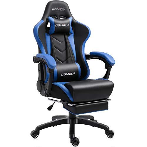 Dowinx Gaming Stuhl Ergonomischer Büro Lehnstuhl für PC mit Massage Lordosenstütze, Racing Stil Sessel PU-Leder-E-Sport-Gamer Stühle mit Ausziehbarem Fußraste (schwarz&blau)