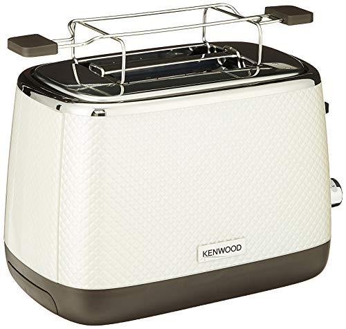 Kenwood Mesmerine TCM811WH - Tostador de diseño (2 ranuras, rejilla de calentamiento, 6 niveles de dorado, funciones descongelamiento y bagel) Blanco Perla