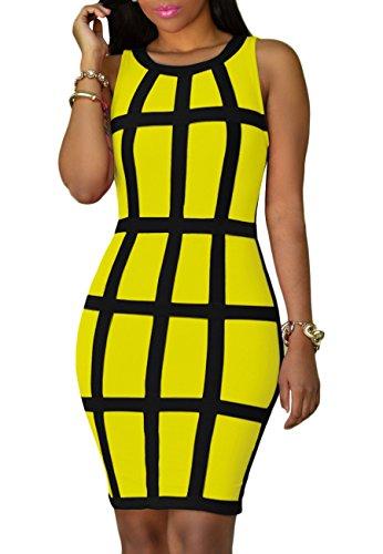 OMZIN Womens Sexy Sleeveless Spaghetti Strap Hollow Bodycon Pencil Club Midi Dress Yellow 4XL