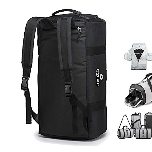 OZUKO Gym Bag Backpack, 4 in 1 Carry-on Garment Bag Large Duffel Bag Suit Travel Bag Weekend Bag Flight Bag Overnight Bag with Shoes Compartment (Black)
