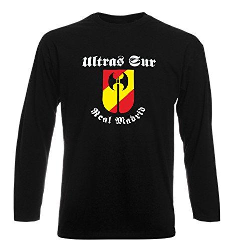 T-Shirt por los Hombre Manga Larga Negra TUM0031 Ultras Sur Real Madrid