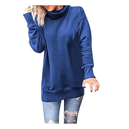 KUDICO - Sudadera de manga larga para mujer con cuello alto sólido, informal, suelta, para otoño e invierno.