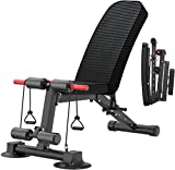 kingkang Foldable Weight Bench,Adjustable Incline Decline Sit Up Ab Bench,Multifunctional Workout Bench Home Gym Equipment for Full Body Workout