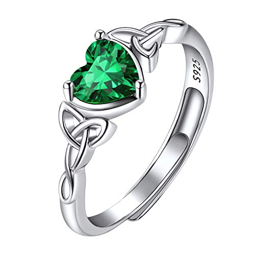 May Birthstone Ring Sterling Silver, Adjustable Celtic Knot Heart Ring, Pretty Rings Birthstone Jewelry, Crystal Emerald Engagement Rings for Women Girls