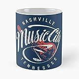 Nashville Music City – La migliore tazza da caffè in ceramica di marmo bianco da 11 Oz
