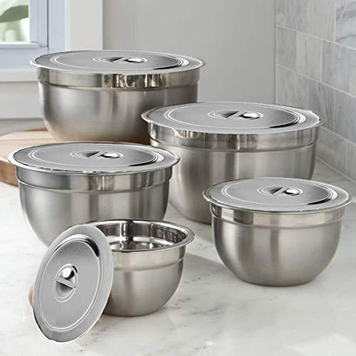 Kitchen Kemistry Premium Edelstahl Schüssel-Set mit Stahldeckel 5-teilig mit 5 verschiedenen Größen: 14, 18, 22, 26, 30 cm