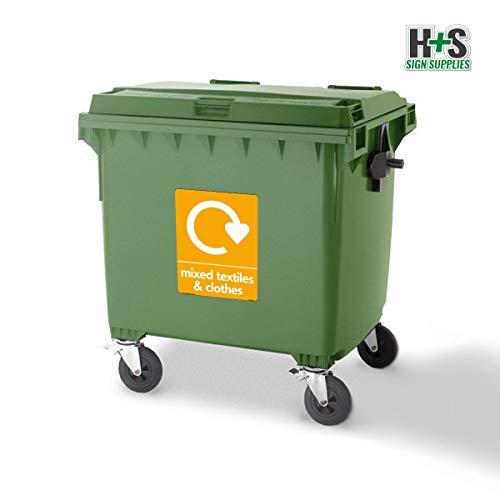 WRAP - Carteles de reciclaje de textiles y ropa mixtos con logotipo, vinilo autoadhesivo, 100 mm x 150 mm, A6