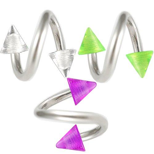 3er set 1,2mm 8mm augenbrauen spirale piercing stahl Lippen ohr Twister körperschmuck BOOL