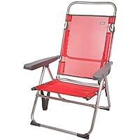 Aktive 53972 Silla multiposición aluminio Beach, 50 x 64 x 100 cm Rojo