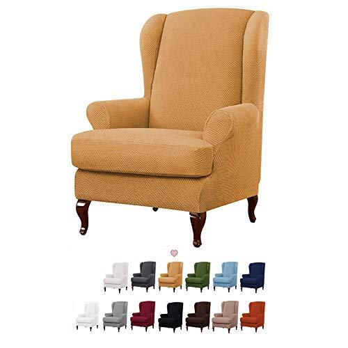 YMOMG Sessel-Überwürfe Ohrensessel Überzug BEZUG Sesselhusse Elastisch Stretch Husse Für Ohrensessel 2-teiliger Sesselbezug Möbelschutzbezug, 1 Sofabezug Mit Elastischem Boden (Beige)