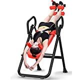 Home Body Exercise Fitness Bench Folding Gravity Inversion Table Deluxe Easy-To-Reach Ankle Lock, Back Pain Relief Kit