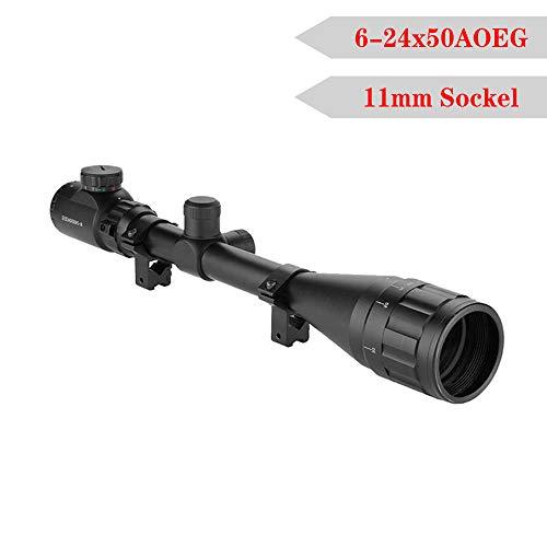LARS360 Zielfernrohr Gewehrzielfernrohre Rot Und Grün Taktische Luftgewehr Armbrust Rifle Scope Luftscharfschützen Airsoft Mit mm Montagen für Jagd und Sport (6-24x50AOEG, 11mm)