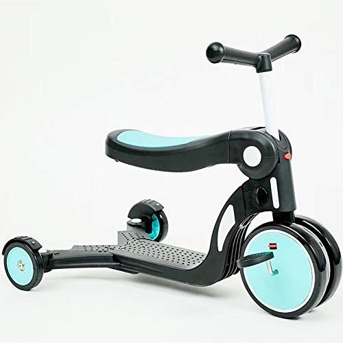 LITIAN Multifunktionale Fünf-in-one-Kinder Scooter 1-6 Jahre alt Pedal Dreirad Can Sit Blue