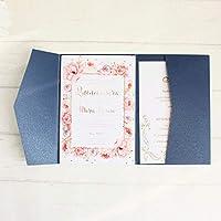 空白の封筒カード招待状ネイビーブルーポケット3つ折り招待状セットマルチカラーはカスタマイズされたサービスを提供します-white_just_pocket