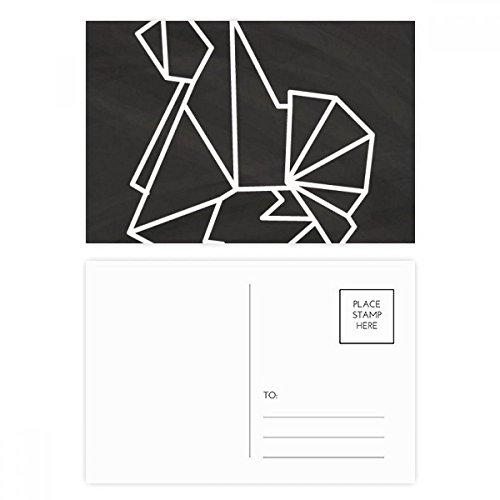 DIYthinker Resumen perro Origami Forma geométrica Gracias tarjeta postal de cumpleaños Conjunto de correo lateral 20Pcs 5,7 pulgadas x 3,8 pulgadas Multicolor