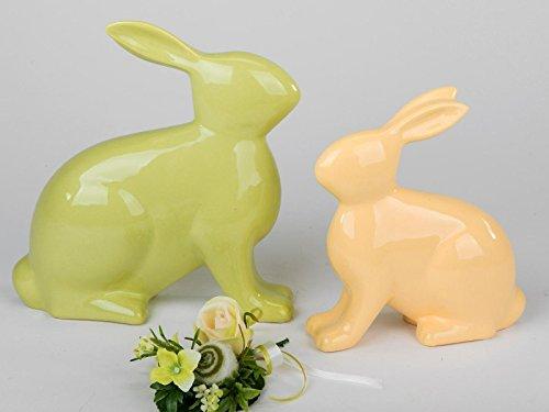 Décoration, lapin assis 20 cm, jaune ou vert)