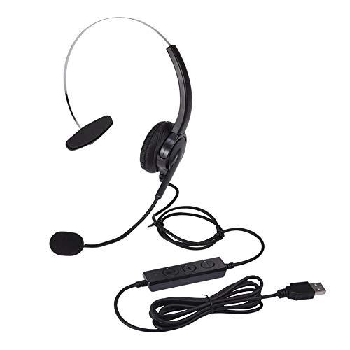 Kabelgebundene USB-Headsets Mono mit Noise Cancelling-Mikrofon und Inline-Steuerung, Wantek UC Business-Headset für Skype, SoftPhone, Call Center, kristallklaren Chat, Superleichtgewicht Ultra-Komfort