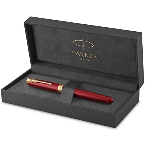 PARKER Sonnet Penna Roller, Laccatura di Colore Rosso con Finiture in Oro, Pennino Sottile, Confezione Regalo