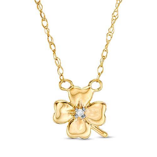 Ani's Collar de trébol de cuatro hojas de oro amarillo de 10 quilates con detalle de diamante D/VVS1 para mujer