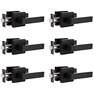 6 Pack Passage Lever Door Handle Heavy Duty Modern Square Non-Locking Lever Set for Hallway or Closet Doors, Passage Door Handle Lever in Matte Black Finish, Reversible for Right & Left Sided Door