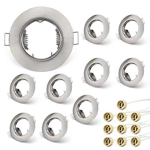 KYOTECH Einbaustrahler Einbaurahmen GU10 Set, Einbaustrahler Rahmen Rund Nickel gebürstet, Einbauspots Einbauleuchten für Halogen Leuchtmittel LED-Modul MR16, inkl. GU10 Fassung für 230V 10er Set